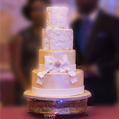 elegant white wedding cake