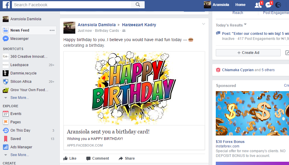 Free Birthday Card For Facebook Users