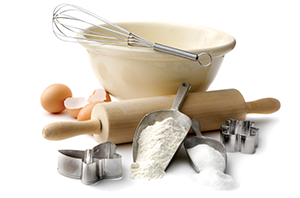 baking ingredients egg rolling pin flour