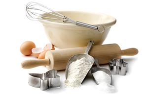 baking ingredients egg rolling pin flour