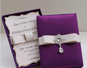 purple wedding invite