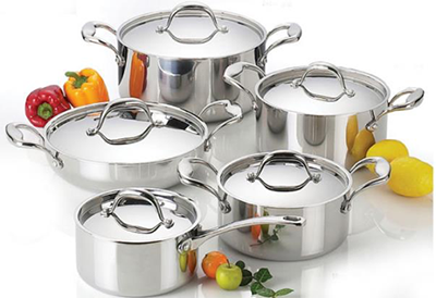 metallic kitchen pots set