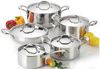 metallic kitchen pots set