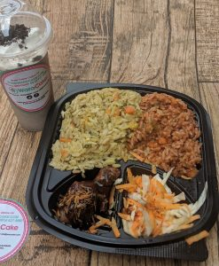 jollof plus fried rice and milkshake