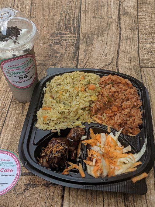 jollof plus fried rice and milkshake